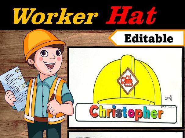 Construction Worker Hat Editable Name | Community Helpers Week Craft