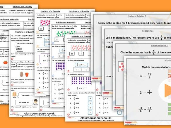 Year 4 Fractions of a Quantity Spring Block 3 Step 9 Maths Lesson Pack