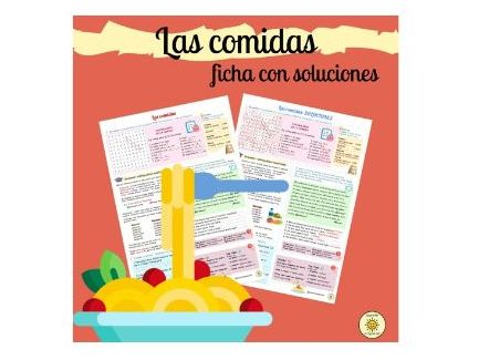 Las comidas y los alimentos. Soluciones. De costumbre. Spanish GCSE Viva mealtimes. Answers included