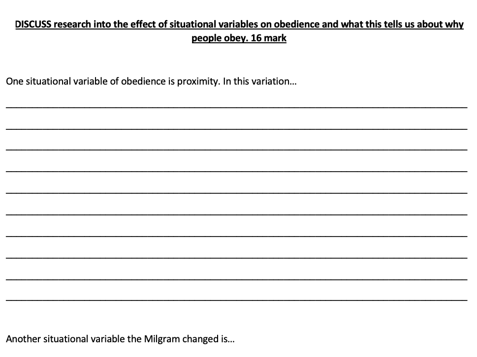 Situational variables of obedience (16m) writing frame