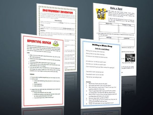 4 Music Cover Lesson Worksheets for a non specialist.