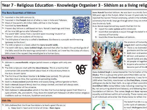 RE KS3 Knowledge Organiser & test: Sikhism