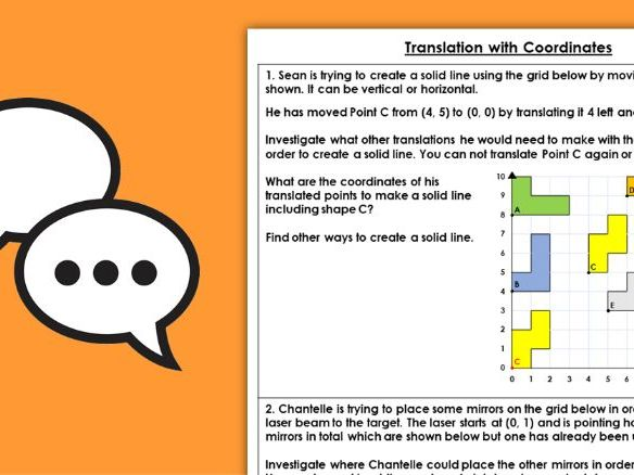 Year 5 Translation with Coordinates Summer Block 3 Maths Discussion Problems