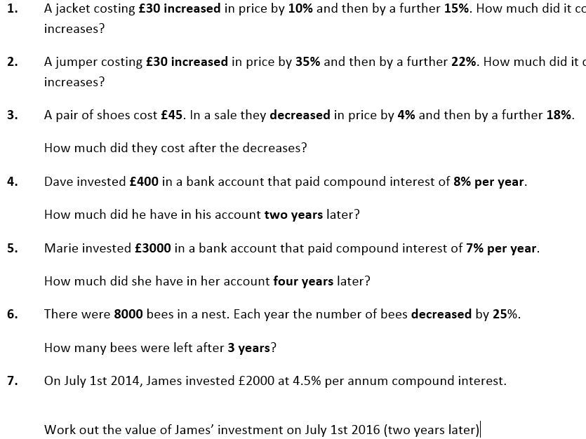 Repeated Percentage Change/Compound Interest Maths Worksheet and Powerpoint