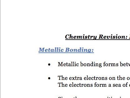 Metallic Bonding + Group 1,0,7 - Notes Chemistry AQA Combined Science GCSE