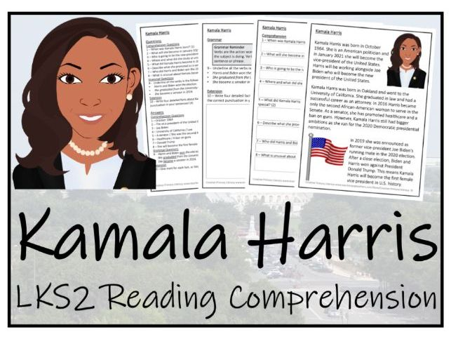 LKS2 - Kamala Harris Reading Comprehension Activity