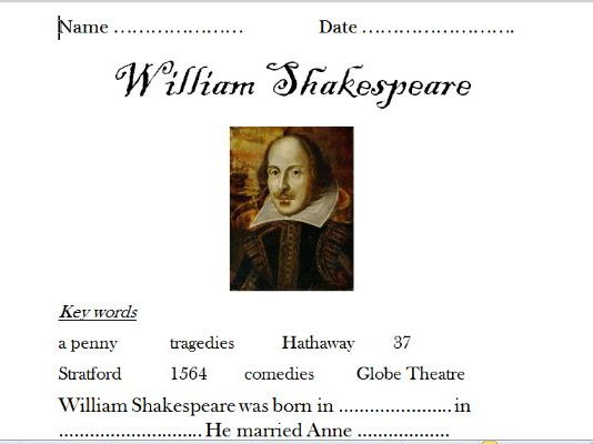 William Shakespeare (Powerpoint and differentiated worksheet).