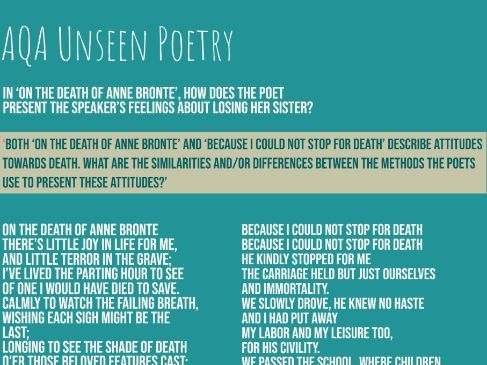 Home School: AQA Unseen Poetry: Death Questions and Responses