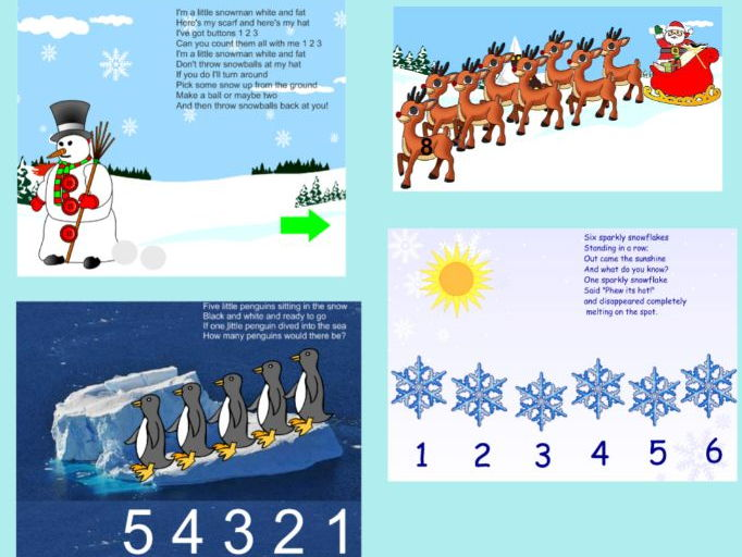 Christmas themed number rhymes, interactive
