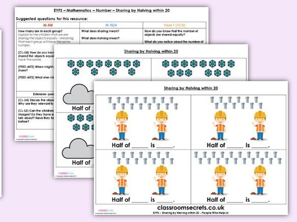 EYFS Maths Number - Sharing by Halving Planning, Resources & Observation Pack