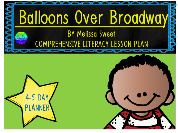 Balloons Over Broadway by Melissa Sweet 4-5 Day Lesson Plan and Activities
