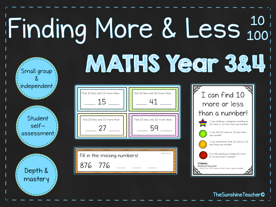 Finding More & Less (10/100) - Year 3&4 - Math - Place Value - 4 NO PREP Resources Bundle