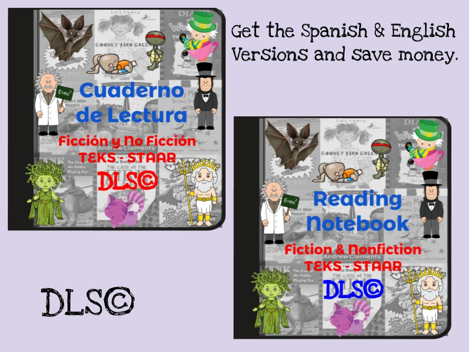 Interactive Reading Notebook - Spanish & English versions