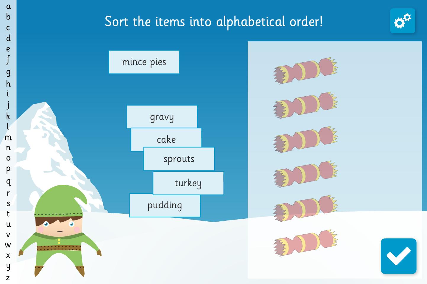 Alphabetical Lists Interactive Activity - Christmas KS1
