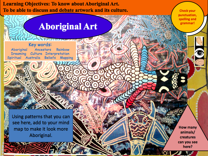 Aboriginal Art: KS3 Scheme of work with exemplar work and visually engaging PowerPoint