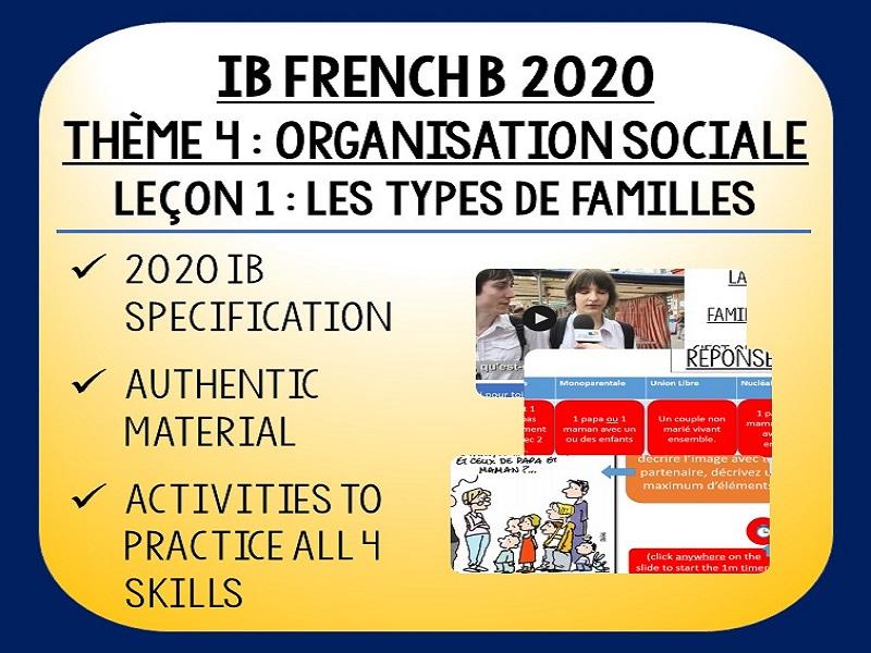 IB FRENCH B 2020 - Organisation Sociale L1 - Les types de familles