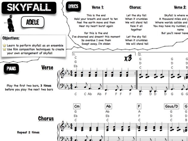 Film Music group lead sheets (Skyfall & Mission Impossible