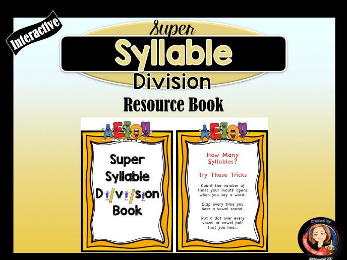 Syllable Division Interactive Resource Book