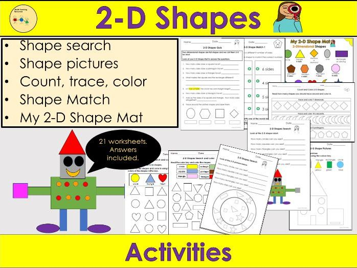 2D Shapes Worksheets /Activities - 2D Shape Mat, Count Trace Color, Shape Pictures + More -  PreK/K