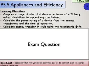 KS4 P5.5 Appliances and Efficiency