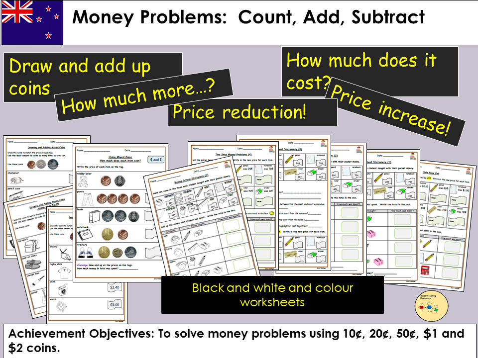 New Zealand:Money Word Problems Count, Add, Subtract, Draw coins to match price tags, Worksheets