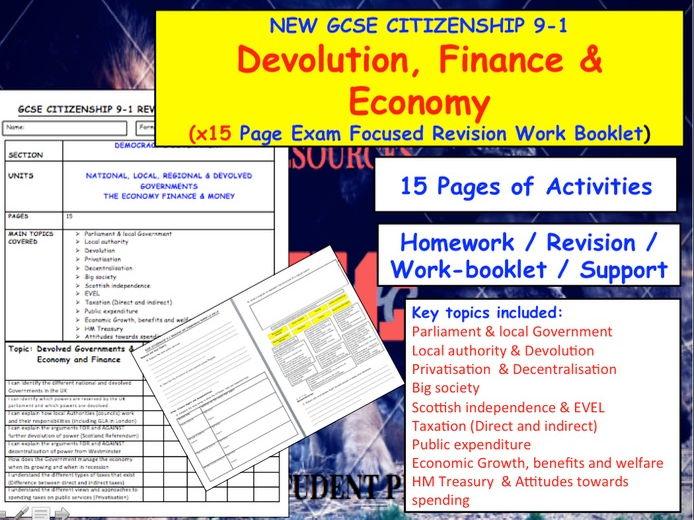 Revision Work booklet:  Devolution, Finance & Economy NEW GCSE CITIZENSHIP 9-1