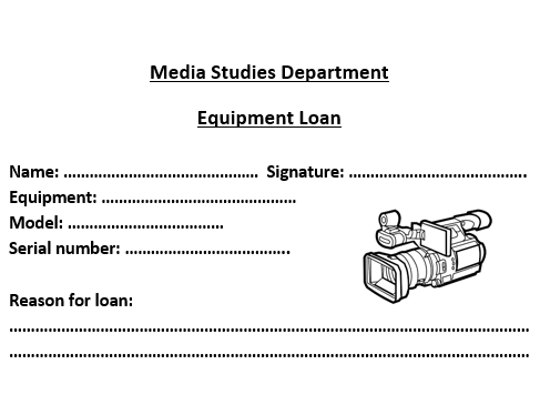 Media Equipment Loan Form