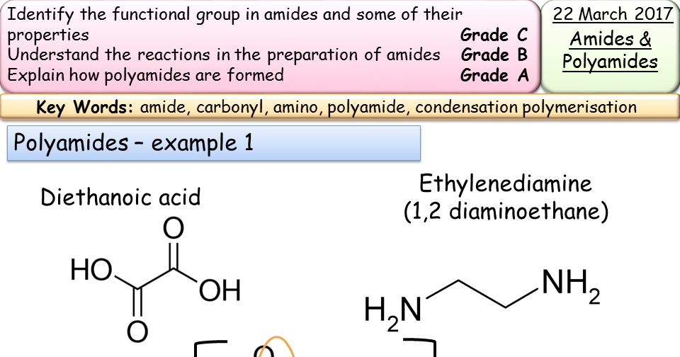 Amides and Polyamides A2 Organic Chemistry New Spec Edexcel/AQA