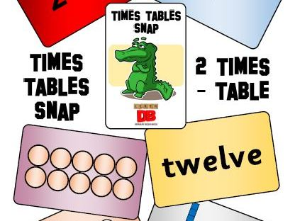 Times Tables Snap cards - 2 x table pack