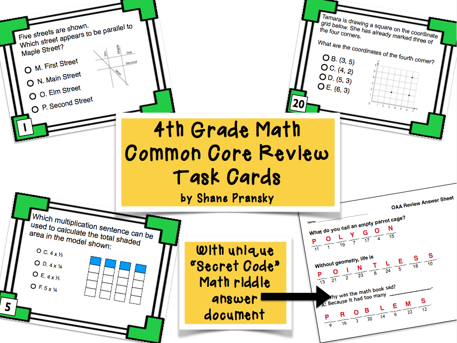 4th Grade Math Review Task Cards (with Riddle Code Answer Key)