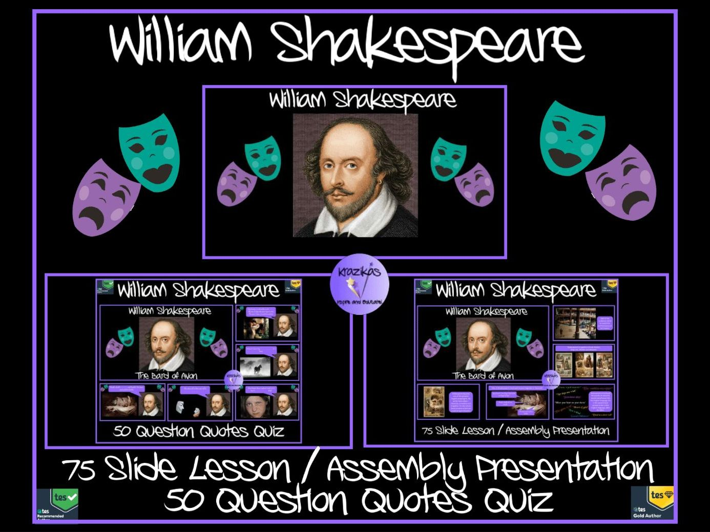 William Shakespeare Bundle - Presentation, Quiz and Worksheets