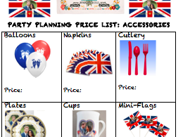 Royal Wedding 2018 Maths - Harry and Meghan Party Planning Activity