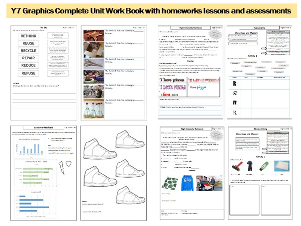Y7 Graphics complete unit of work. Lessons, Homeworks, Assessments