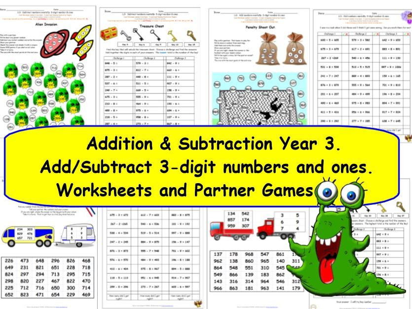 Y3 Add and Subtract 3-digit numbers and 1-digit numbers crossing 10.  KS2 Activities and Worksheets.