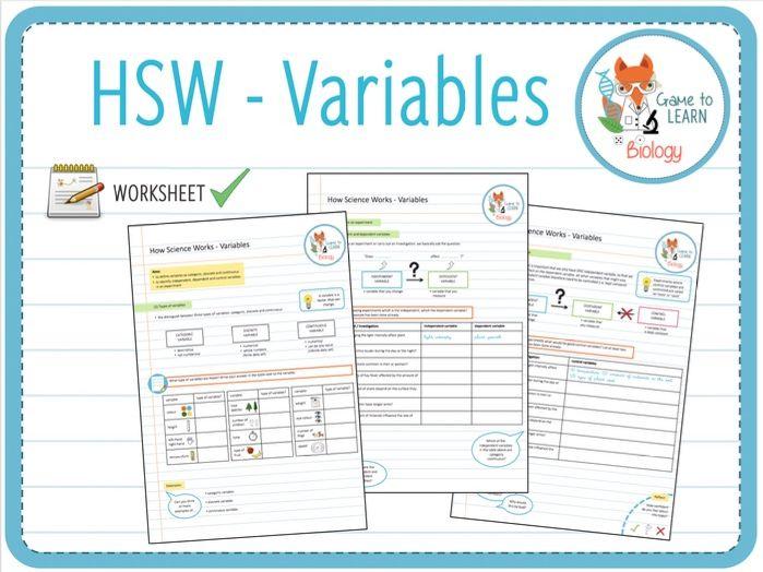 How Science Works (HSW): Variables - Worksheet 1  (KS3/4)