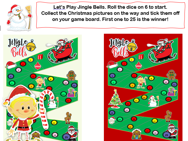 Christmas Dice Game Numbers to 25