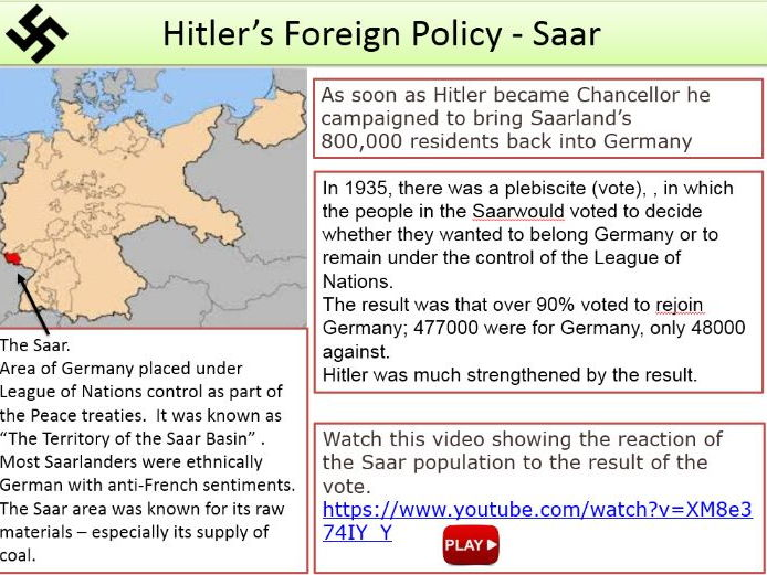 Hitlers Aims in Foreign Polic and early events - LofN / Rearmament / Saar / Rhineland / Alliances