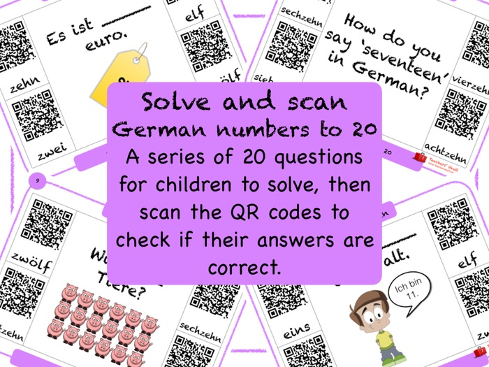 German Numbers to 20 Solve and Scan