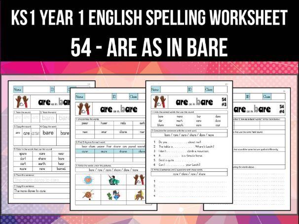 Spelling & Phonics Worksheet - ɛː sound spelled ARE