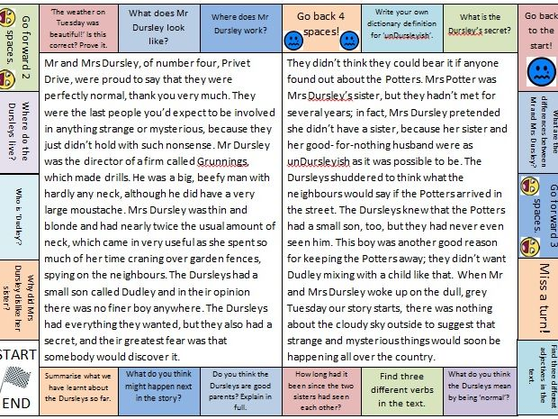 Harry Potter themed guided reading/comprehension/shared reading board game.