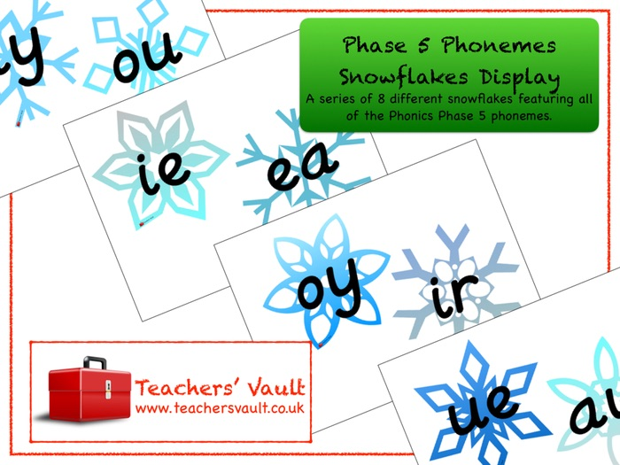 Phase 5 Phonemes Snowflakes Display