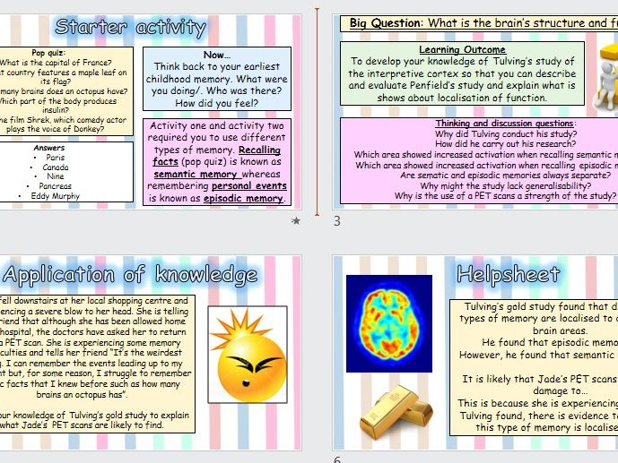 AQA GCSE Psychology 9-1 - Brain and neuropsychology - Tulving's Gold Study