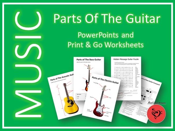 Parts of the Guitar - PowerPoints and 10 Worksheets