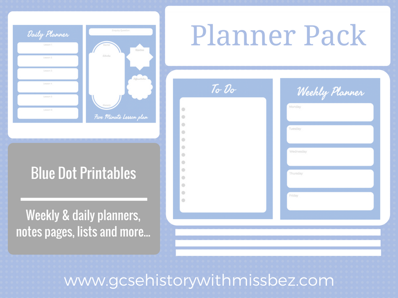 Teacher Planner Pack - Daily and Weekly Printables to Support Your Planning (Blue Dot Theme)
