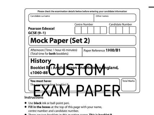 Custom Mock Paper Edexcel GCSE (9-1) History Paper B1 Set 2