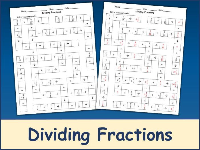 Dividing Fractions Crossword Puzzle