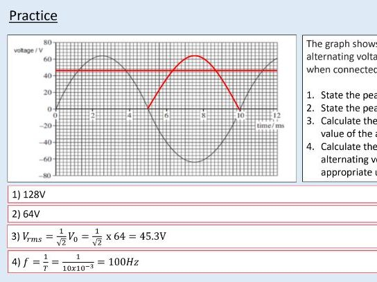 A level Physics (25.4) Alternating current and power (Electromagnetic induction)