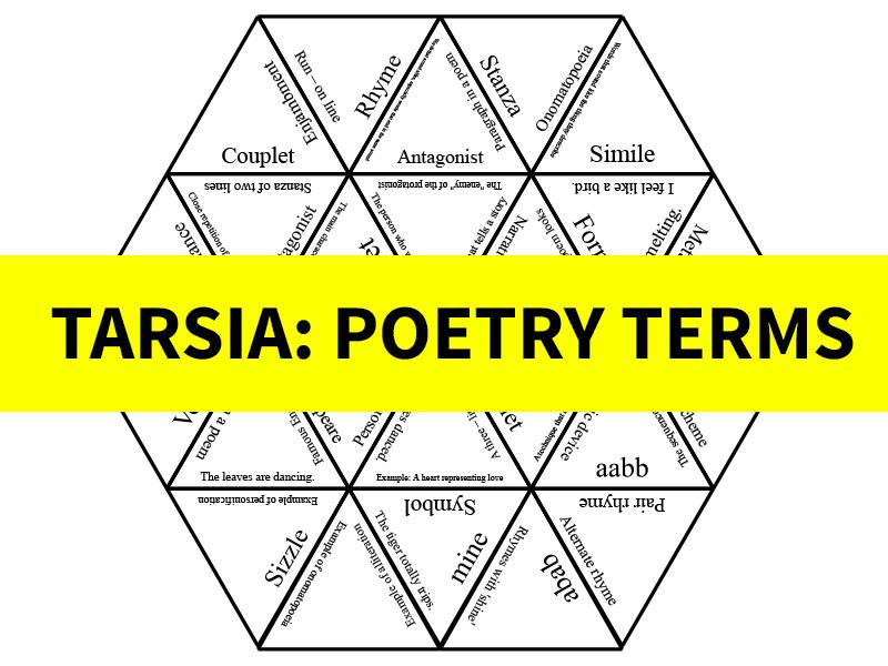 Poetry Terms Tarsia/Jigsaw
