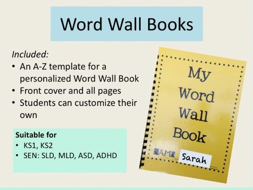 Literacy - Word Wall Book A-Z Template for KS1, KS2 and SEN