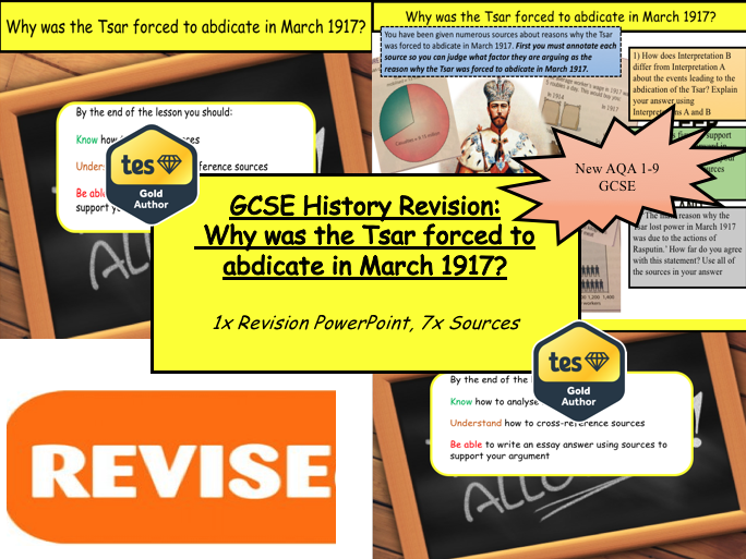 GCSE History Revision:  Why was the Tsar forced to abdicate in March 1917?